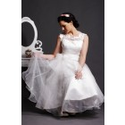 Lace Scoop Neck Layered Tea Length Ball Gown Skirt Organza Wedding Dress w/ Sash
